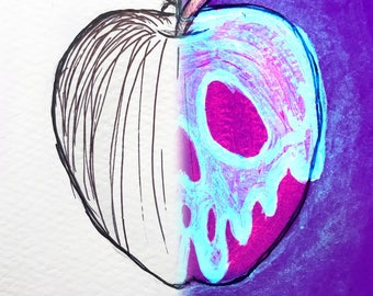 Glow Disney Poisoned Apple Ink Drawing