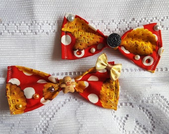 Sweet Lolita Hair Bow with a biscuit pattern - Medium size