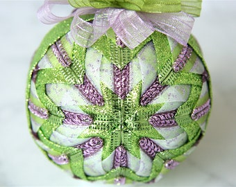 Quilted Ornament Ball-Purple-White-Green-Fairy Tale