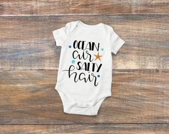 Ocean Air Salty Hair, Baby Summer Onesie, Baby girl Summer Vacation Outfit, Summer Baby, Baby Shower Gift, New Baby Gift, Baby Boy Gift