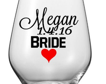 Wedding Party Wine Glass Decals,Custom Bridal Party Decals, Vinyl Decal, Wine Glass Decals, Bridal Party Decals, Glasses NOT Included