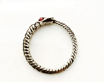 Sterling Silver Ourobouros snake ring with gemstone eyes option.
