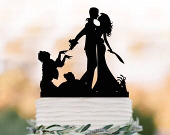 Zombie Wedding Cake topper, Halloween couple silhouette wedding cake toppers, funny zombieland wedding cake toppers