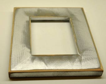 4x6 Rustic Silver Frame Solid Wood with Glass, Backing and Mounting Hardware