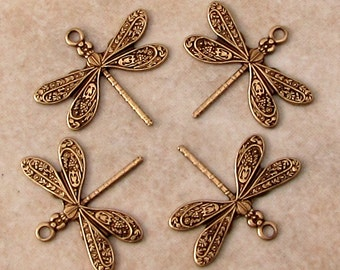 Small Dragonfly Charm, Brass Ox, 4 Pc. AB149