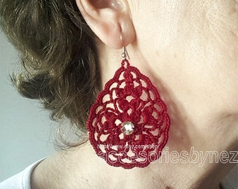PDF Crochet Earrings Pattern, Pendant Necklace, DIY Earrings or Pendant, Drop Earrings, Charm Pendant
