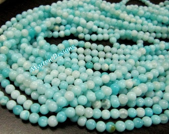 Natural Peruvian Opal Round ball Shape Beads Blue Opal 4 to 5mm beads sold per strand 13.5inches, Semi Precious Gemstone Strings Wholesale