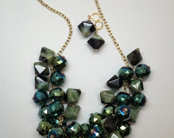 """Blue-Green and Black Agate and Glass Necklace - 24"""""""