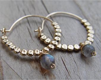 Gold Hoops, Labradorite Earrings, Birthstone Earrings, Personalized Birthstone Jewelry, Beaded Hoop Earrings, Handmade Gold Hoop