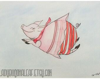 Pig Art, Pig Watercolor, Pig Painting, Nursery Art, Flying Pig, whimsical water color print, Nursery Art Decor