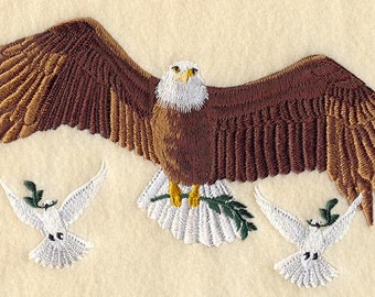 PEACE EAGLE and DOVES - Machine Embroidered Quilt Blocks (AzEB)
