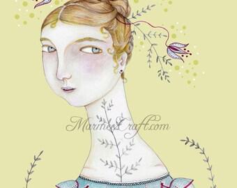 """MarmeeCraft regency floral art print,  """"In Her Palest Blue"""""""