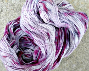 Hand dyed purple merino yarn, 440 yards sock yarn, fingering weight