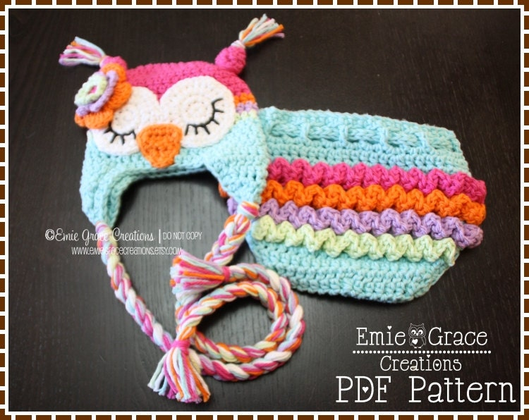 Crochet Owl Hat & Ruffle Diaper Cover Patterns Ear Flap 8