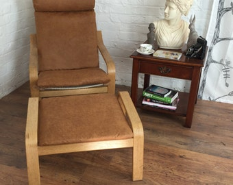 Distressed Leather Look Slip Cover Made For The Ikea Poang Chair Plus Matching Footstool