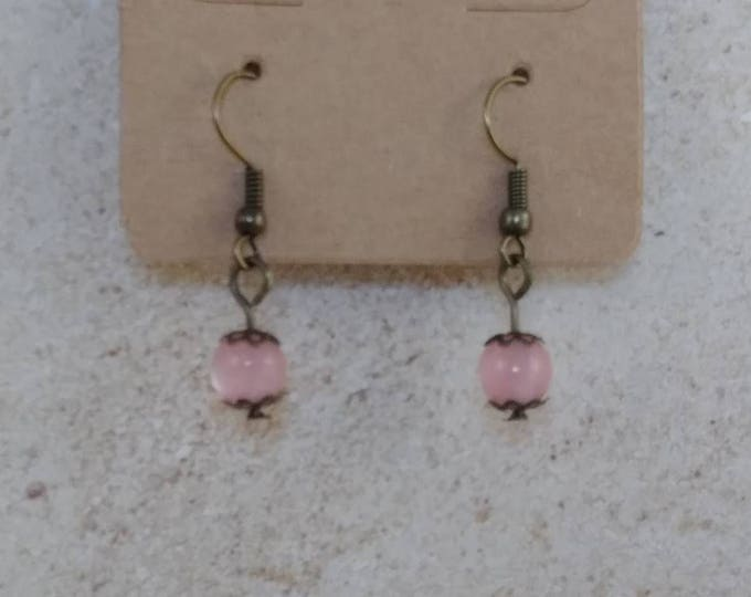 Pink earrings,dangle earrings, drop earring, gemstone earring, crystal power, crystal earrings, crystal jewelry,fift for her