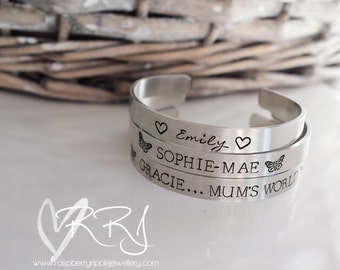 Adults and Childrens Aluminium cuff bracelet Personalised with your own words. customised gift present bangle silver bracelet ladies