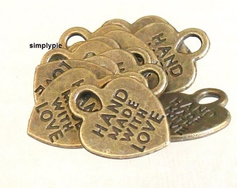Heart Antiqued Brass Hand Made with Love Charms 10 Pcs