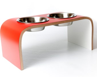 Red & White Raised Pet Feeder available in various sizes