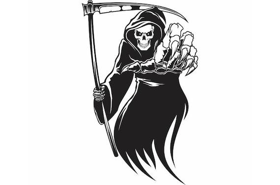 Grim Reaper 1 Death Skull Killer Tattoo Sickle Cloak .SVG