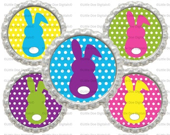 "Instant Download Printable 1"" Circle Easter Bunny Rabbit Bottle Cap Images"