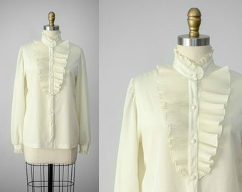 ruffle blouse | high collar blouse | ivory blouse | ruffled blouse
