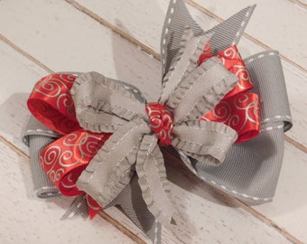 Red and Gray Holiday Swirls Hairbow