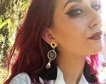 "5/8"" Plugs Dream Catcher Tunnel Earrings Ear Weights Stretching Body Jewelry 16mm Plug Dangle Plugs Gauges Gold Mandala Gift Her"