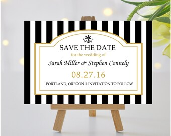 SAVE THE DATE Cards Black, White, and Gold   Elegant Black Striped Save the Date Cards   Modern Black Tie Gatsby Style Save the Date Cards
