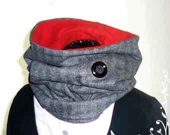 Hood, Snood, Loop, wool with fleece