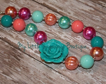 Serenity Chunky Necklace-Aqua Coral Pink-M2M Cheeky Plum- Chunky Necklace-Bubblegum Necklace-Baby-Toddler-Girls-Women
