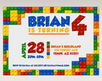 Building Brick Blocks Birthday Party printable invitation - Birthday Party Invitation #300