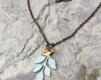 Leaf & Bird in Light Turquoise