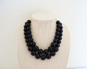 Big Black Beaded Necklace