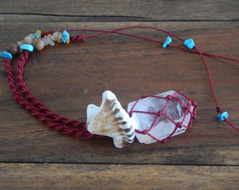 Moons and Crafternoons Quartz Macrame Necklace