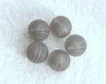 12mm Vintage Beads Gray Lucite Beads Spacer Beads Gray Fluted Beads Large Round Beads