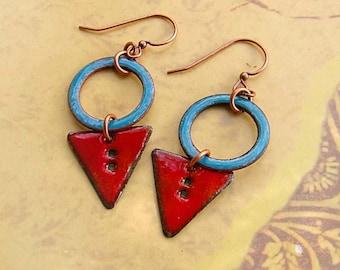 Red Enamel Earrings Turquoise Enamel Jewelry Rustic Boho Jewelry