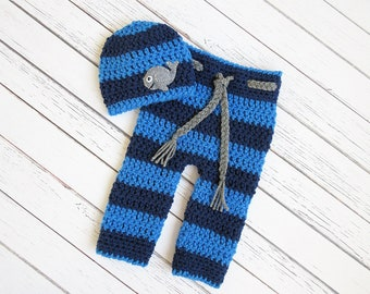 Whale Crochet Newborn Set, Hat and Pants Photo Prop Set, Hat and Diaper Cover Set
