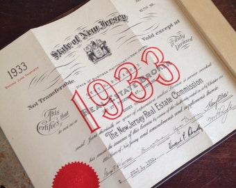 Antique 1933 New Jersey Real Estate License. Office Wall Decor. Paper Ephemera.