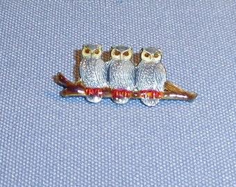 Vintage Sterling Silver Enamel Three Owls On Branch Brooch