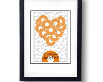 Personalised Vinyl Heart Wedding Guest Book Alternative - A3 Print