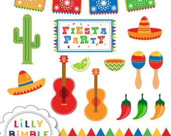 Fiesta Party in Primary Colors clipart for invitations, cards, and party decor picado, DIGiTAL DOWNLOAD