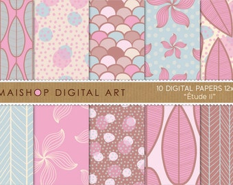 Digital Paper 'Étude II' Blue, Brown, Pink and Yellow Polka Dots, Fish Scales, Floral, Leaves Patterns...  Instant Download Images