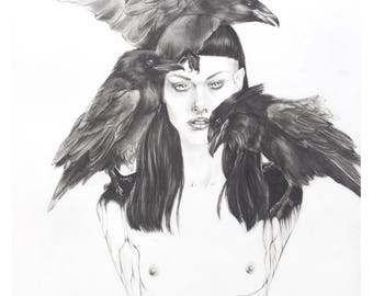 Woman and Raven Familiar Fine Art Print