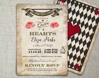 Mad Hatter Birthday Invitation   Mad Hatter Tea Party Idea   Alice in Wonderland Playing Card Invitation   Vintage Mad Hatter Invite