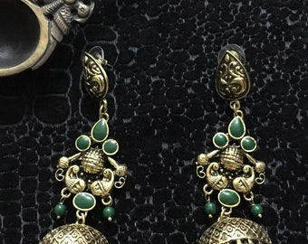 Antique Emerald jhumki-Indian jhukmi-Oxidized jhumki- golg tone earring-Temple jewelry-