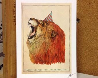 Birthday Lion // A5 print 5x8