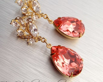 Gold Tone Bridesmaid Earrings - Swarovski Pear Shaped Stones available in many colors