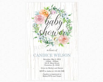 Boho Couronne florale Baby Shower Invitation, Boho Chic Baby Shower Invitation, imprimable ou imprimée