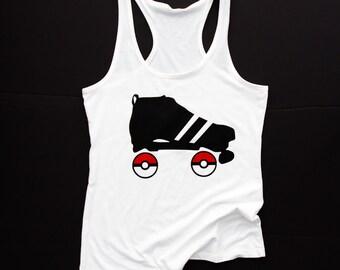 Pokemon Roller Derby Tank || White Scrimmage Tank ||  Roller Derby Clothing || Roller Derby Shirt || Pokemon Go || Roller Derby Skater